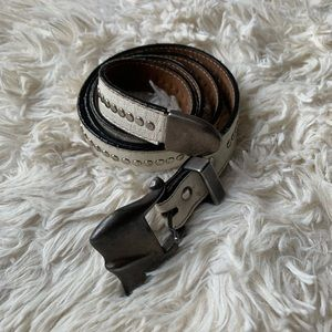 Accessories - Western Studded White Leather Skinny Waist Belt